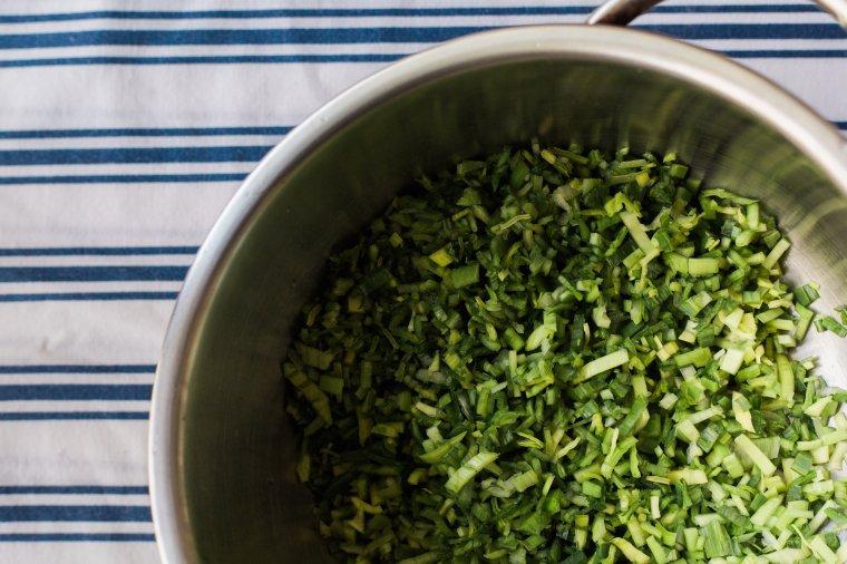 Chopped Leek Greens